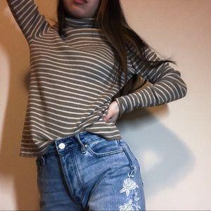 Vtg Striped Turtleneck Sweater